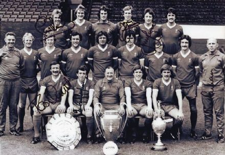 Liverpool FC legends x 6 signed 12x8 inch photo.